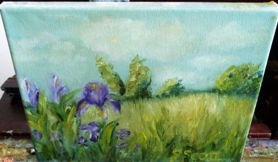 Iris on my Easel,Sold