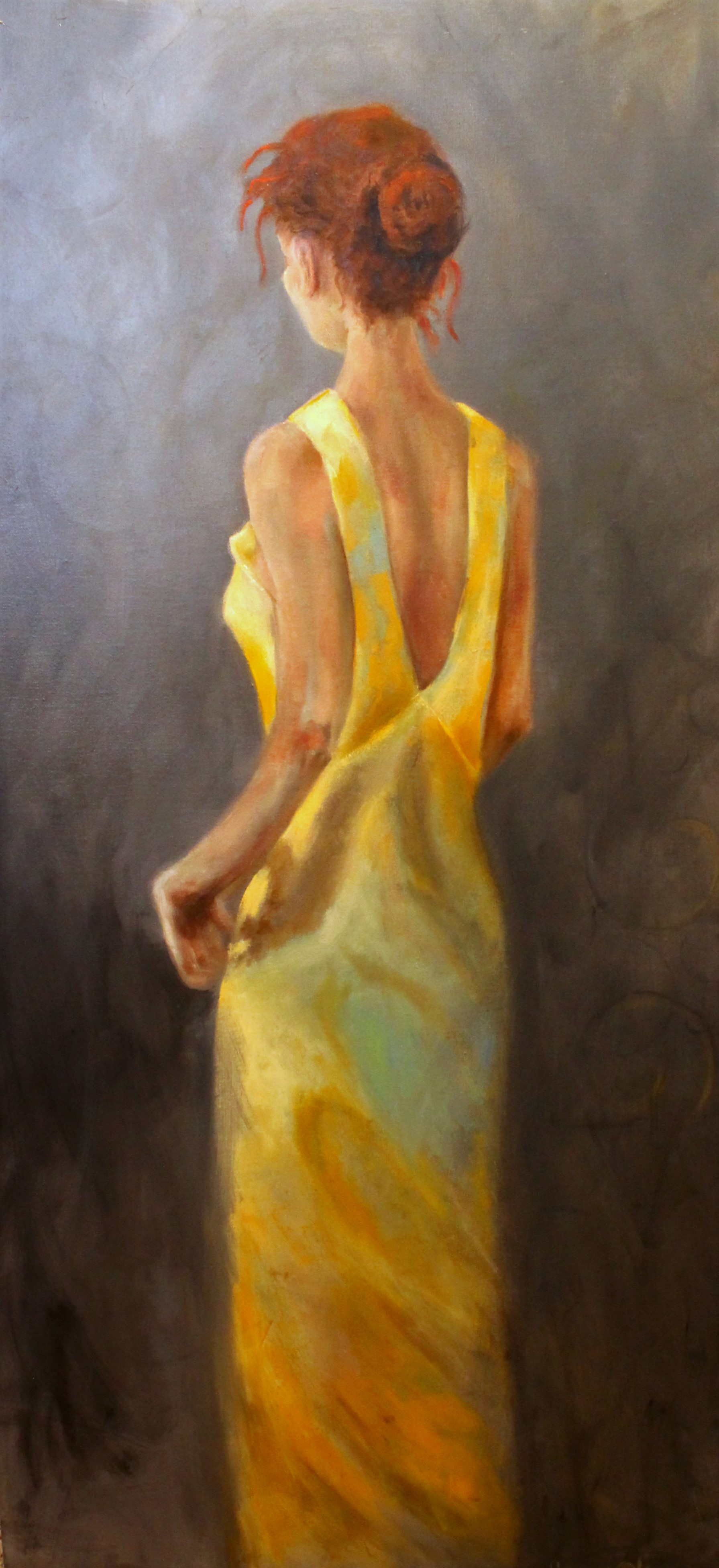 yellow dress painting ith light